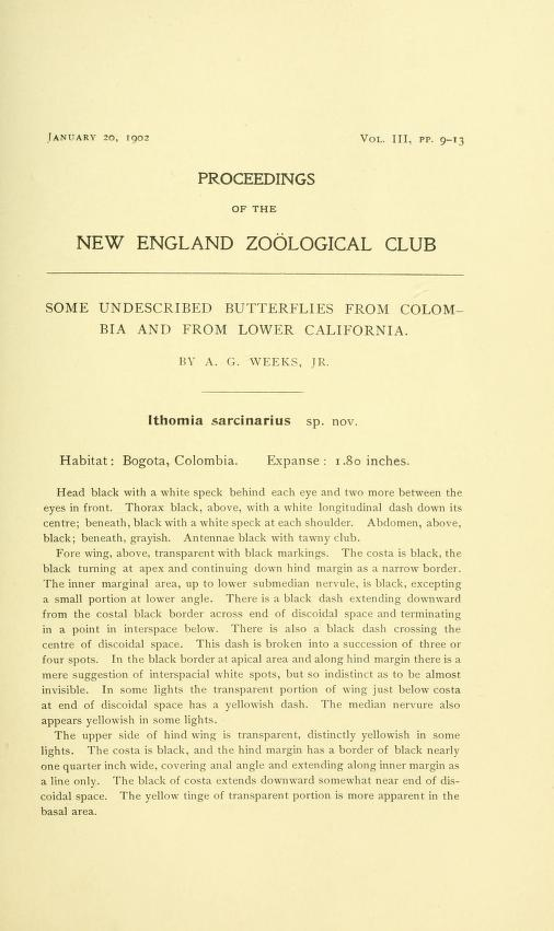 Weeks (1902), Proc. New Engl. Zool. Club 3:9-13