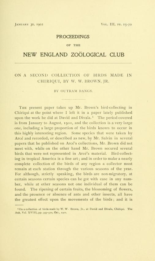 On a Second Collection of Birds Made in Chiriqui, by W. W. Brown Jr.