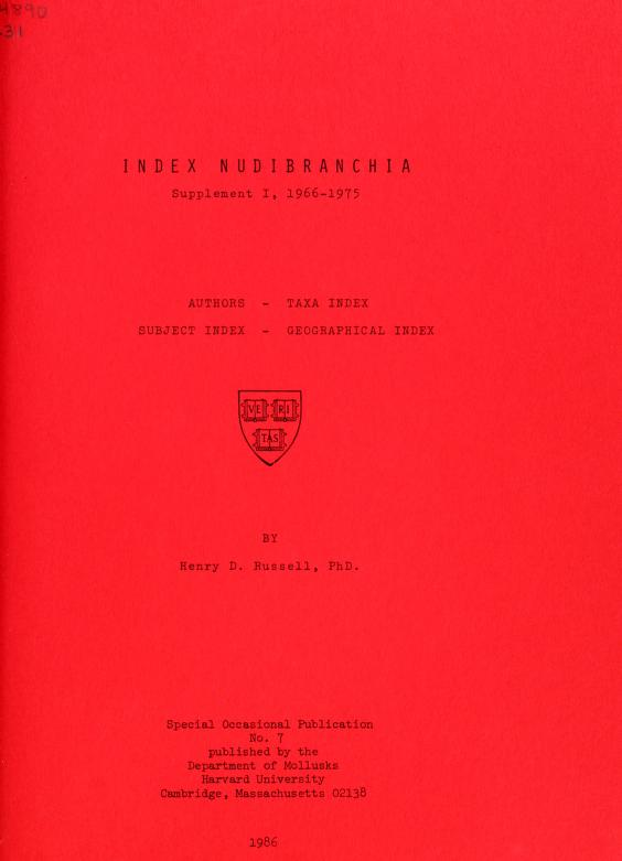 Index Nudibranchia. Supplement I, 1966-1975