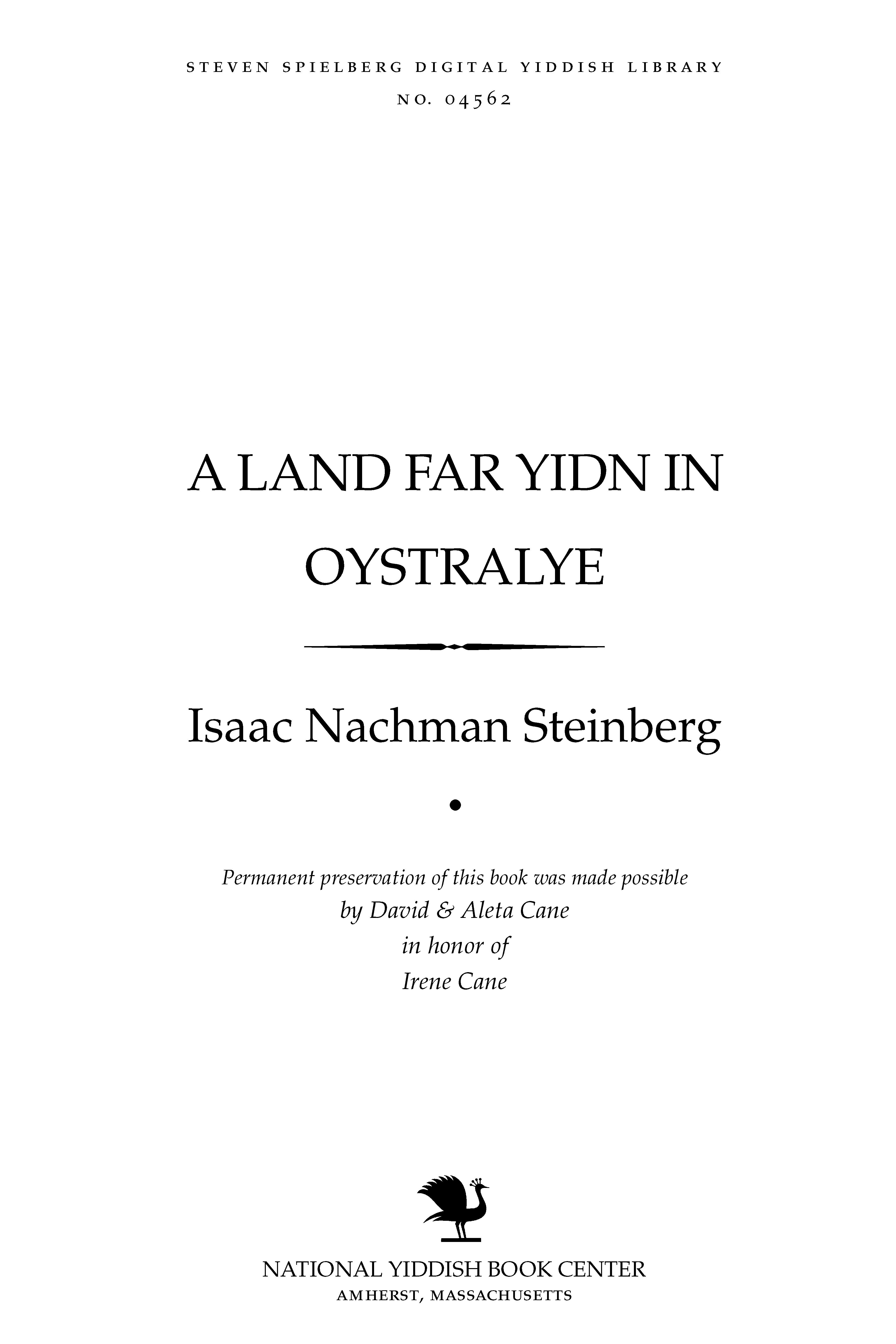 Cover of: A land far Yidn in Oysṭralye